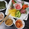 手巻き寿司、漬物、吸い物