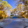 車とからめた紅葉:色づく有峰(4)