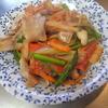 幸運な病のレシピ( 1285 )朝:豚バラ炒め(セロリ、しめじ、人参、細アスパラ、トマト)、塩サバ、シジミの味噌汁