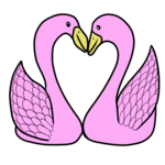 愛し合うかわいい水鳥 のイラスト