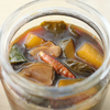 甘酢醤油胡瓜三五八麹漬け、赤玉葱新生姜甘酢漬け