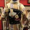 竹柄染紬×黒繻子地雀刺繍開き名古屋帯