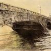 信濃川に映る朝陽と萬代橋の力強く美しい姿