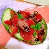 ひらひら胡瓜deひじき和え物とトマトのカナッペ