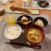 ごはん、鮭ハラス、アンパンマン高野豆腐、ポテトサラダ、キャベツと揚げの味噌汁、(四季柑の酎ハイ)