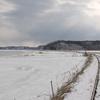 厳寒の根室本線厚岸湖付近