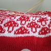 キノコ柄、編んだら予想以上の可愛さ。(200のモダンな編み込み模様から)