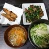 レバニラ炒め、レバカツ、スープ、白菜漬け