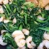 小松菜とエビのオイスターソース炒めとネコちぐらのその後。