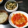キャベツミルフィーユ、大豆青のり炒め、スープ