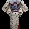 白地水玉現代小紋×ブルーピンクデコ更紗仕立て上がり名古屋帯