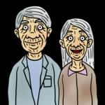 かなりの老夫婦 のイラスト