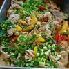 豚肉と沖縄ピーマン、パプリカの白ごま炒め