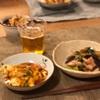 かに玉(こどもは丼)、鶏肉と野菜の炒め物、はりはり漬け