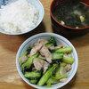 今日の食べ物 朝食に豚肉とターサイの炒め物