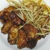 今日の夕食 鶏のタンドリー風、カシラのニンニク炒め