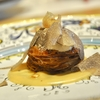 広尾の「メログラーノ」でトリュフのタルトタタン、サカエヤのお肉、香箱蟹のパスタ、ヤリイカとカラスミのパスタ他。
