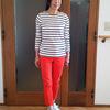 ノーマルな白×紺のボーダーシャツで初夏を早どり