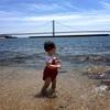 娘、初めての海へ!大蔵海岸海水浴場