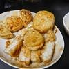 れんこんはさみ焼き、サバ缶キャベツ、味噌汁