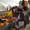 秋の果樹園でお買い物