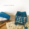 編み図|ワッフル編みの巾着