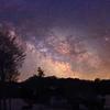 雪と桜と天の川 新潟県魚沼市の星空