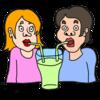メロンジュースを飲む二人