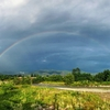 安曇野、夕立と虹。