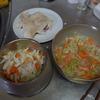 幸運なマユのレシピ(2):鶏ムネを茹でて、キャベツ、人参、舞茸を茹でた。