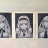 油絵練習7回目(グリザイユ画、オリジナル・2次創作計3枚、10時間位)