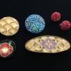 ビーズ刺繍のバレッタ、ヘアゴム、ブローチ