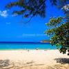 青く輝く美しい海と白い砂浜🌴