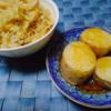 ひよこ豆と油揚げの炊き込み玄米ご飯、長芋の揚げ出し風