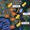 横浜横須賀三浦の異臭発生原因と発生場所 当時の風向きと浦賀水道航路の相対図