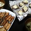 さんま竜田あげ、椎茸チーズ焼き、味噌汁