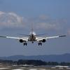 日本航空機、着陸前です。