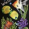 熱帯魚のチョークアート