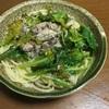 蕪の葉と鯖水煮缶のパスタ