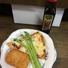 夕飯は コストコのピザとハッシュドポテト それに 福岡産アスパラガス!それに フィリコのオリーブオイルをたっぷりかけて…