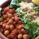 ✴︎ひよこ豆のスパイス煮込み(レシピ)、トマト、胡瓜、紫玉ねぎとミントのサラダ、茄子とドライトマトのハリッサ風味