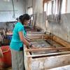 ブータンの紙漉き工場 和紙と同じ作業
