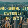 銀行株、海運株、JETS、KWEB買い!金、売り!