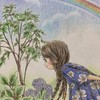 エポルの森の少女「小さな夏の庭」無印色鉛筆で塗って虹も描いてみた