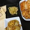 明太もちチーズ春巻とサモサ風、銀杏、キムチ、れんこんカレー炒め、味噌汁