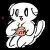 座ってココアの飲む猫のイラスト