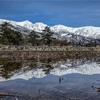 【長野県白馬村】雪解けの水たまりに映る白馬三山の水鏡