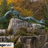 信州 大町市、大町ダムの高瀬渓谷緑地公園にある泉小太郎と犀竜の像