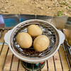 燻製キャンプ 久しぶりに土鍋で燻製玉子を作ってみた。
