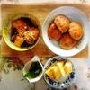 鮭南蛮、レンコン鶏バーグ、ピーマンおかか、玉子焼き